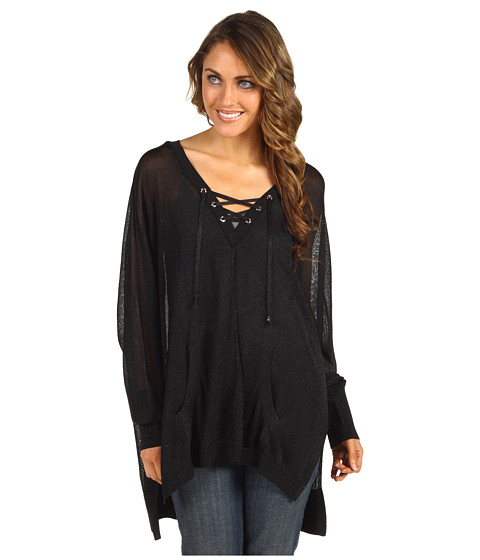 Bluze MICHAEL Michael Kors - Lace-Up Wide V-Neck Top - Black