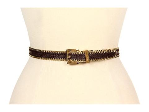 "Curele MICHAEL Michael Kors - 3/4\"" Whip Stitched Chain Edged Belt - Chocolate"
