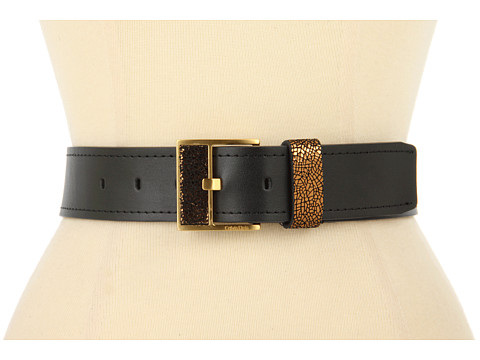"Curele Calvin Klein - Calvin Klein 1 5/8"" Logo Buckle With Inlay Crackle and Loop On Nappa Panel - Bronze"