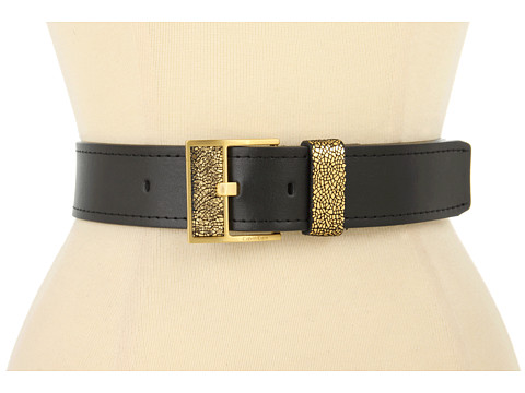 """Curele Calvin Klein - Calvin Klein 1 5/8\"""" Logo Buckle With Inlay Crackle and Loop On Nappa Panel - Gold"""