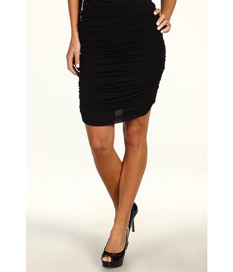 Fuste Halston Heritage - Ruched Chiffon Jersey Skirt - Black