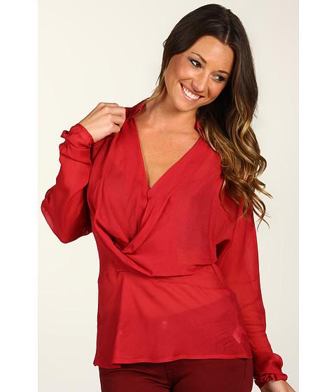 Bluze Halston Heritage - Long Sleeve V-Neck Drape Front Sheer Blouse - Paprika