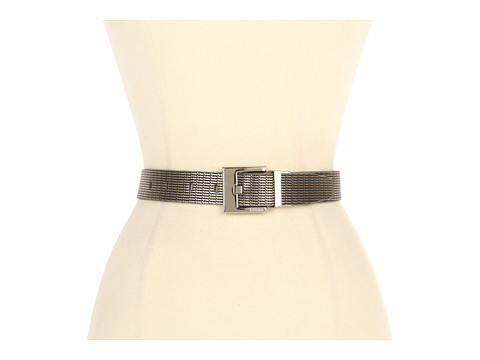 "Curele Calvin Klein - Calvin Klein 1 1/4"" Emboss Chain Panel Reverses to Smooth Panel - Pewter /Black"
