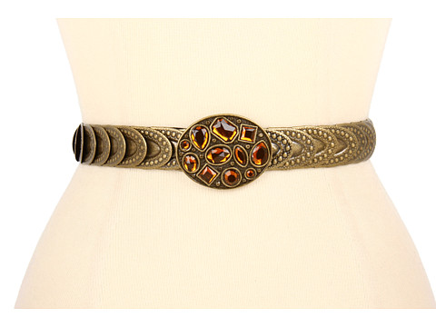 "Curele Jessica Simpson - 3/4\"" Stretch Metal Chain Belt With Rhinestone Cluster Buckle - Antique Nickel"