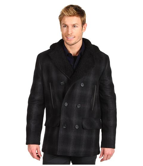Jachete Calvin Klein Jeans - Wool Plaid Pea Coat w/ Sherpa Lining - Black