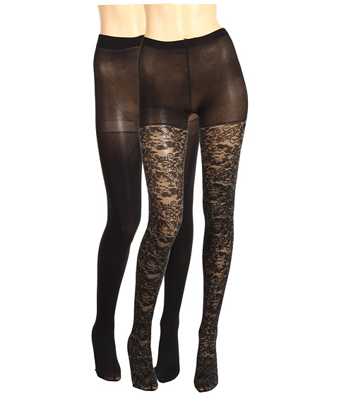 Lenjerie Betsey Johnson - 2 Pack Solid/ Ditzy Daisy Silver Lurex Tight - Black/Black Silver