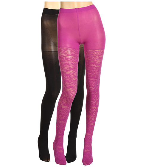 Lenjerie Betsey Johnson - 2 Pack Solid/ Ditzy Daisy Silver Lurex Tight - Black/Plum Silver