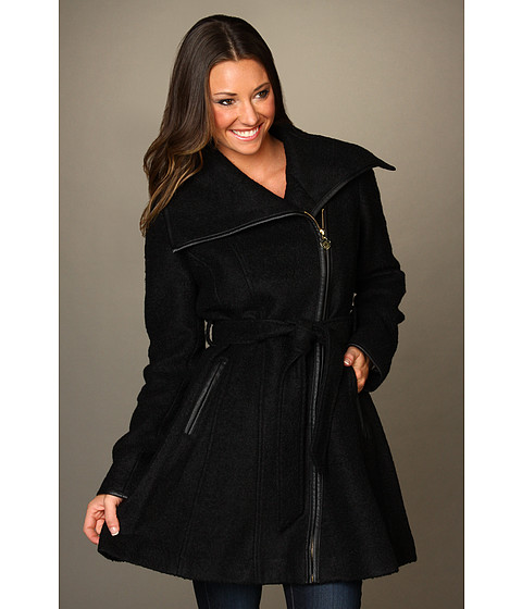 Jachete Jessica Simpson - Boucle Asymmetrical Coat w/ Faux Leather Binding - Black