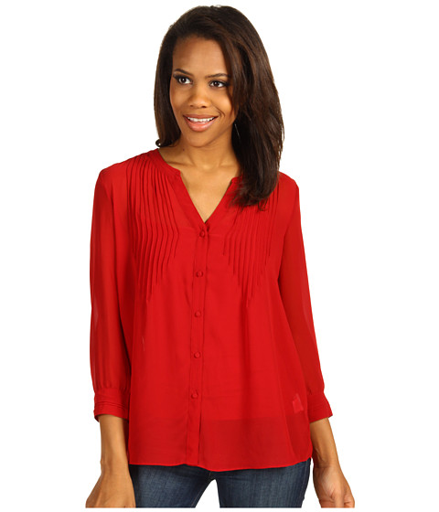 Camasi Calvin Klein Jeans - 3/4 Sleeve Button Front Spring Flowy Georgette Solid - Chili Pepper