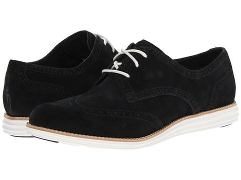 Pantofi Cole Haan - LunarGrand Wing Tip - Black Suede/Optic White