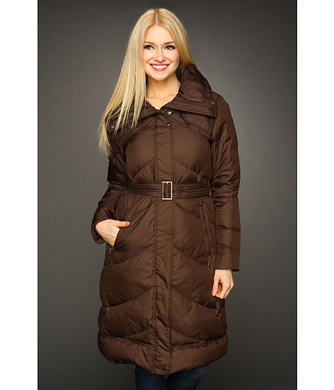 Jachete Cole Haan - Essential Down Belted Chevron Quilted Coat - Chocolate