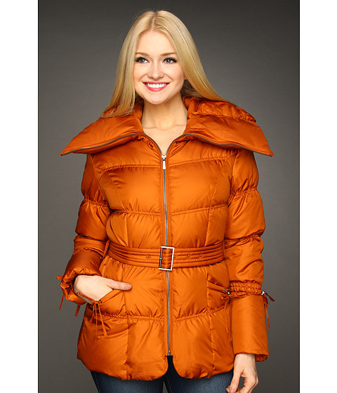 Jachete Cole Haan - Essential Down Belted Jacket w/ Cinch Detail - Orange