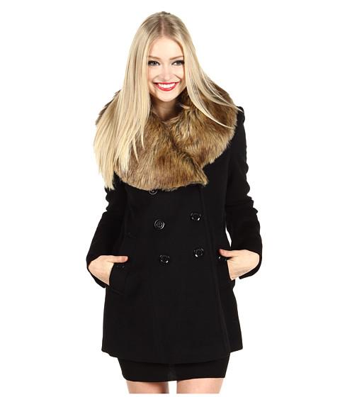 Jachete Nicole Miller - Fur Trim Peacoat - Black