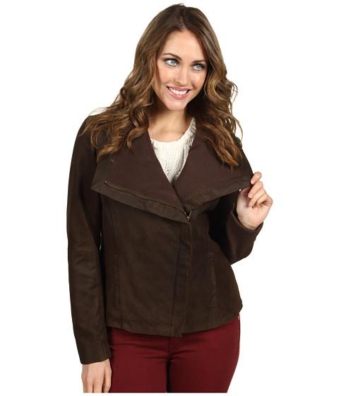 Jachete Nicole Miller - Leather Jacket w/ Ribbed Knit Trim - Brown