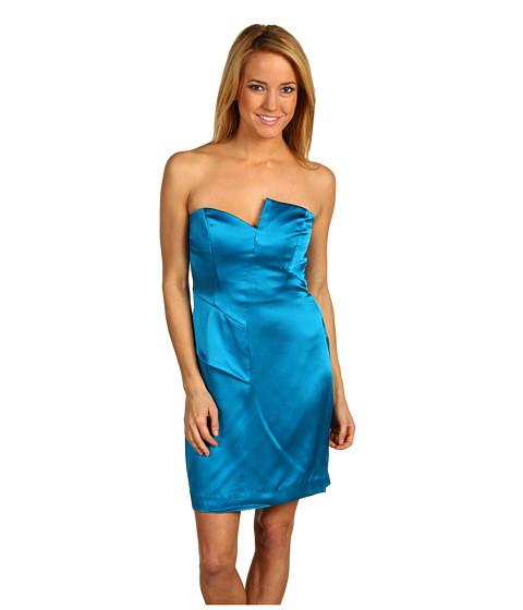 Rochii Nicole Miller - Double Face Satin Strapless Dress - Aqua