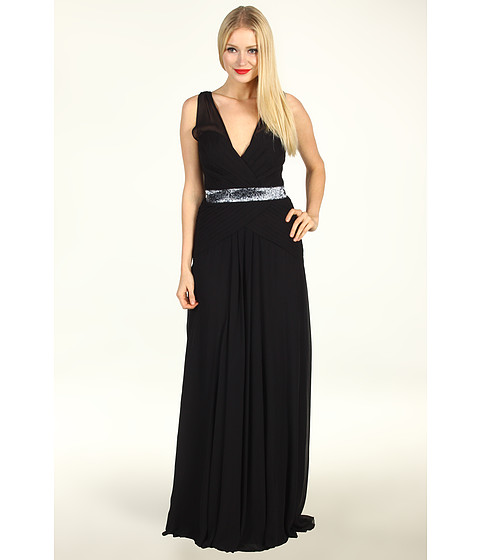 Rochii Nicole Miller - Evening Gown With Sequin Inset Band - Black
