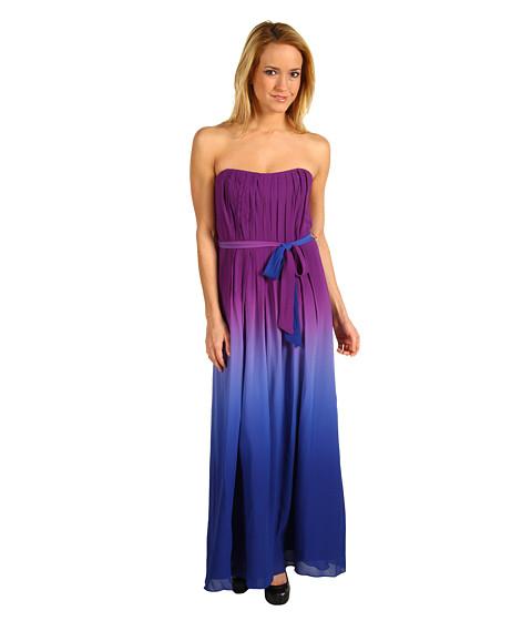 Rochii Nicole Miller - Evening Ombre Strapless Gown - Magenta/Blue