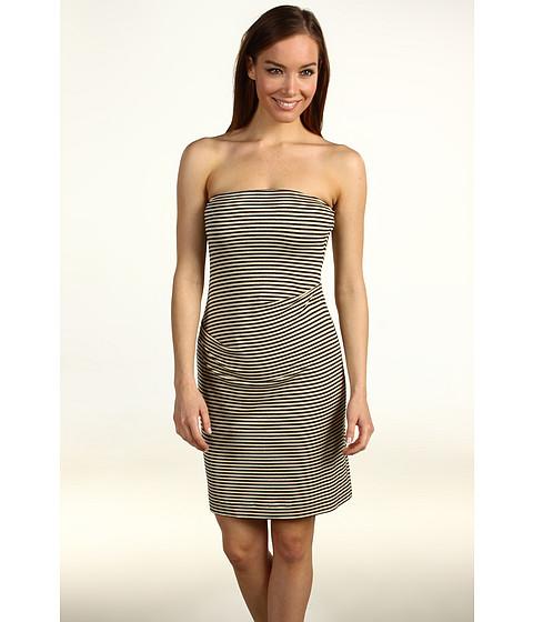 Rochii Nicole Miller - Lurex® Striped Jersey Strapless Dress - Black/Gold
