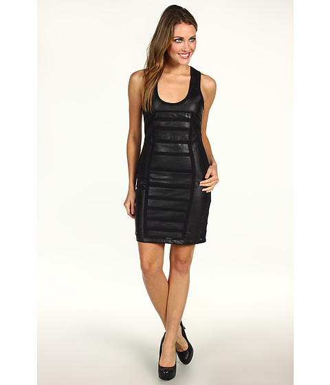 Rochii Nicole Miller - Powernet and Leather Combo Dress - Black/Black