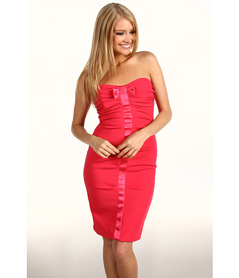 Rochii Nicole Miller - Satin Crepe Strapless Tucked Dress - Watermelon