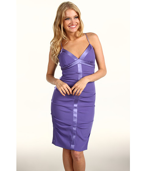 Rochii Nicole Miller - Satin Crepe Tucked Dress With Slip - Lilac