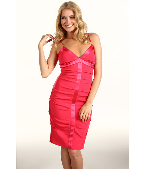 Rochii Nicole Miller - Satin Crepe Tucked Dress With Slip - Watermelon