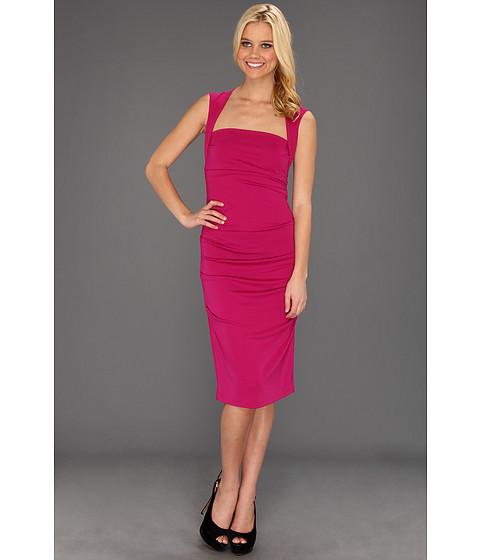 Rochii Nicole Miller - Sleeveless Jersey Tuck Dress - Pink Berry