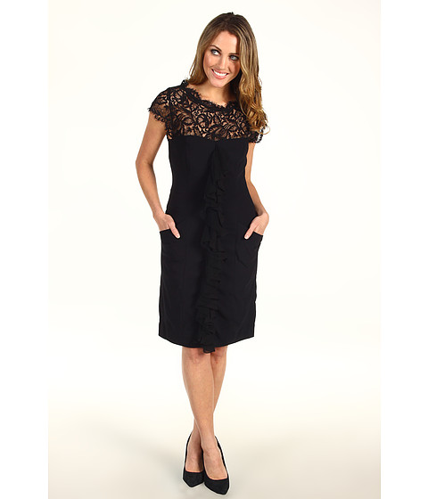 Rochii Nicole Miller - Stretch Crepe Lace Top Dress - Black