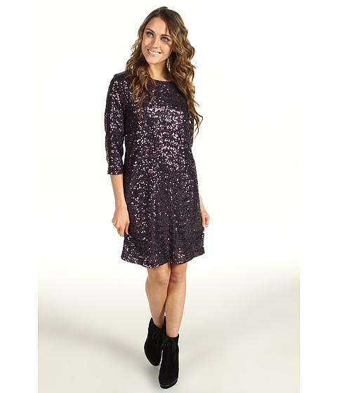 Rochii Nicole Miller - Swirly Sequins 3/4 Sleeve Dress - Eggplant