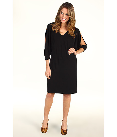 Rochii Nicole Miller - V-Neck Matte Jersey Cold Shoulder Dress - Black