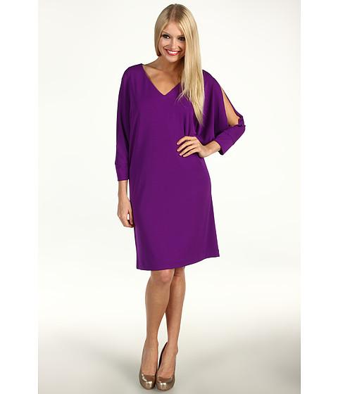 Rochii Nicole Miller - V-Neck Matte Jersey Cold Shoulder Dress - Byzantium