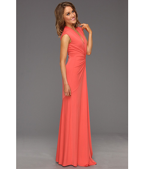 Rochii Nicole Miller - V-Neck Ruched Gown - Salmon