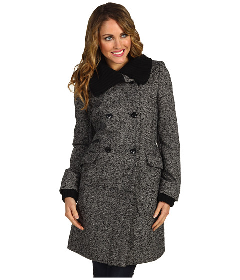 Jachete Nicole Miller - Knit Trim Double Breasted Coat - Donegal