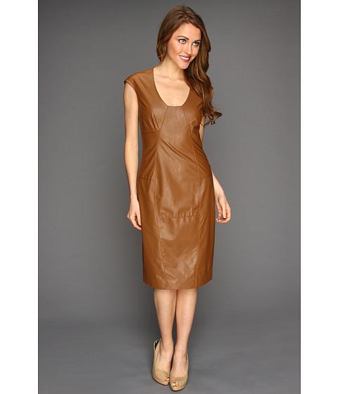 Rochii Anne Klein - Faux Leather Dress - Tobacco
