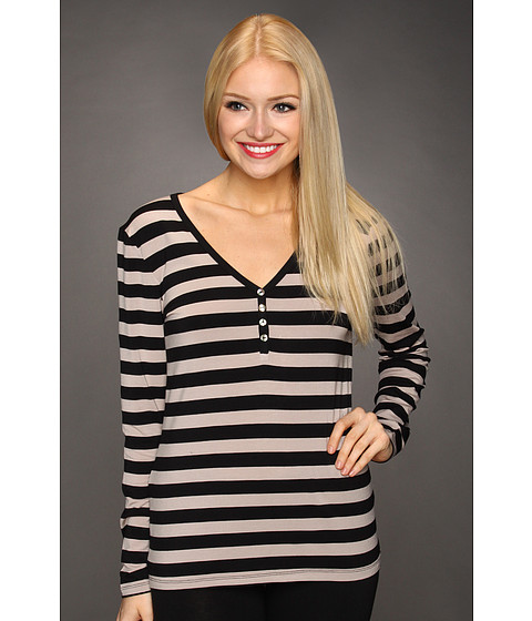 Lenjerie P.J. Salvage - Falling Feathers Stripe L/S Henley - Taupe