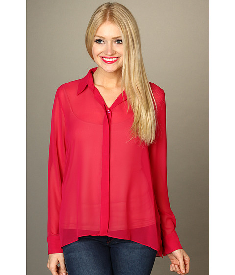 Bluze BCBGeneration - Hi-Low Button Up - Red Berry