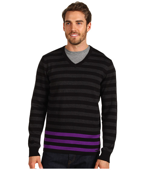 Tricouri Calvin Klein Jeans - L/S V-neck Stripe Sweater w/ Pop Color - Quasar Purple