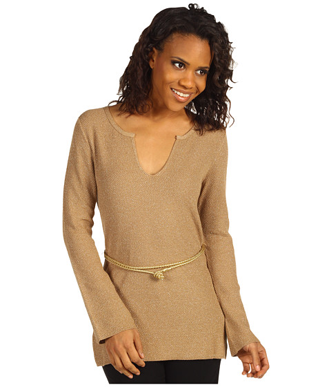 Pulovere Anne Klein - Shimmer Knit Pullover w/ Belt - Brown Sugar