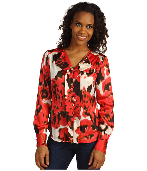 Tricouri Jones New York - Relaxed Ruffle Button Front Blouse - Multi