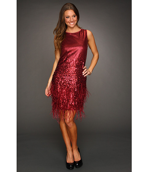 Rochii Jessica Simpson - Sleeveless Feather and Sequin Dress - Burgundy/Grey