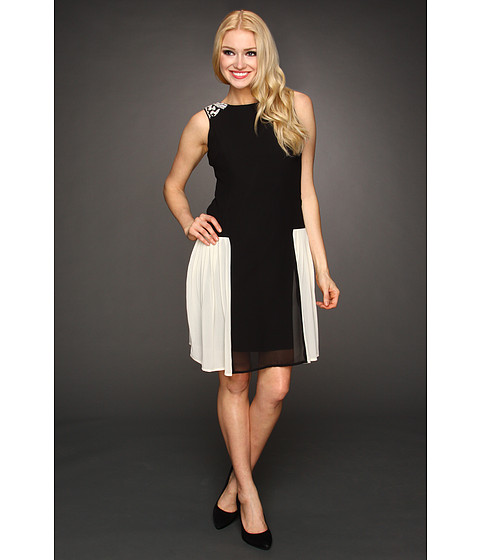 Rochii Jessica Simpson - Sleeveless Sweetheart Lace Neckline Dress with Piping Detail - Black1