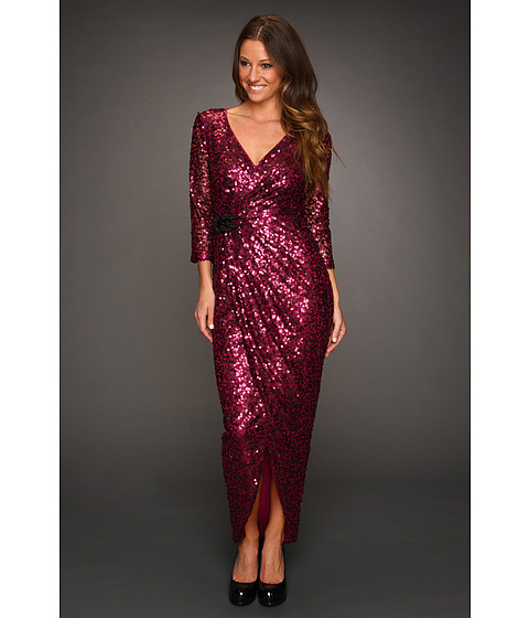 Rochii Jessica Simpson - Wrap Gown with Tulip Skirt - Burgundy/Grey