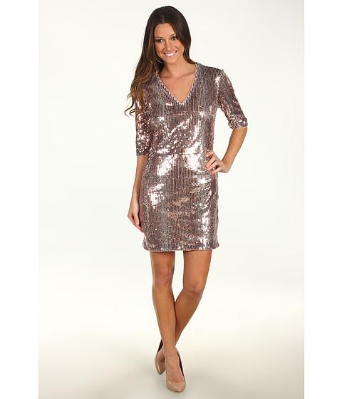 Rochii Donna Morgan - Samantha V-Neck Three-Quarter Sleeve Sequin Sheath Dress - Copper Multi
