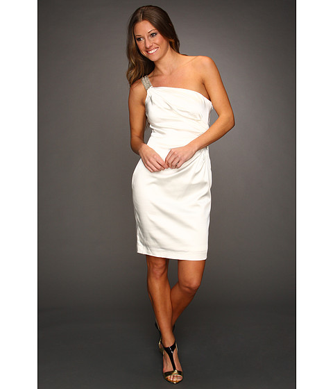 Rochii Calvin Klein - Ruched Satin Dress with Bead Embellishments - Ivory