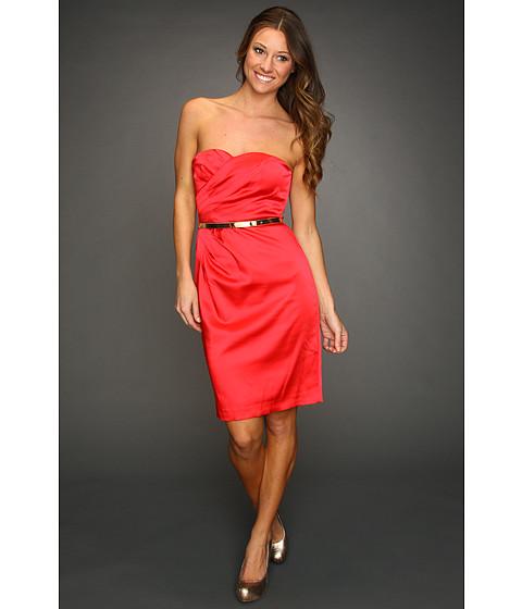 Rochii Calvin Klein - Satin Dress w/ Pleated Surplice Bodice - Hibiscus