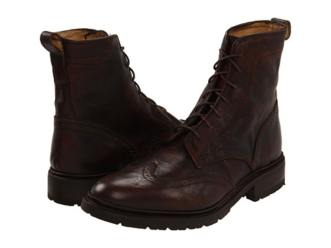 Ghete Frye - James Lug Wingtip Boot - Copper Tumbled Brush Off