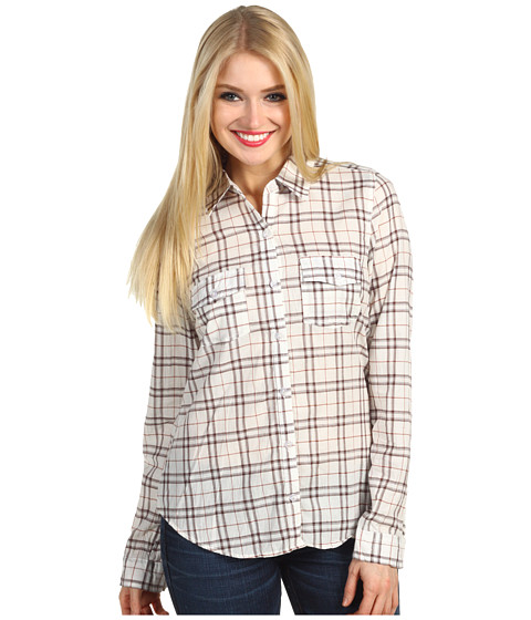 Bluze Gabriella Rocha - Garnette Plaid Shirt - Ivory/Brown