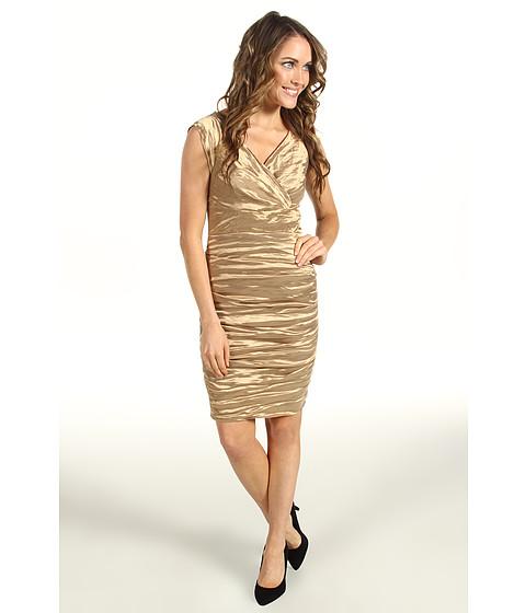 Rochii Nicole Miller - Techno Metal Cap Sleeve Tucked Dress - Copper