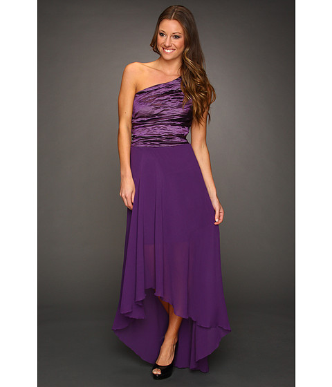 Rochii Nicole Miller - Techno Metal One Shoulder Gown - Majestic Purple