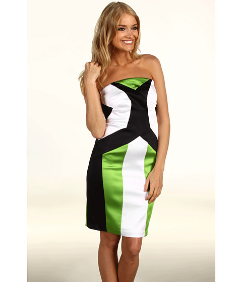 Rochii Jax - Color Block Satin Dress - Black/Green